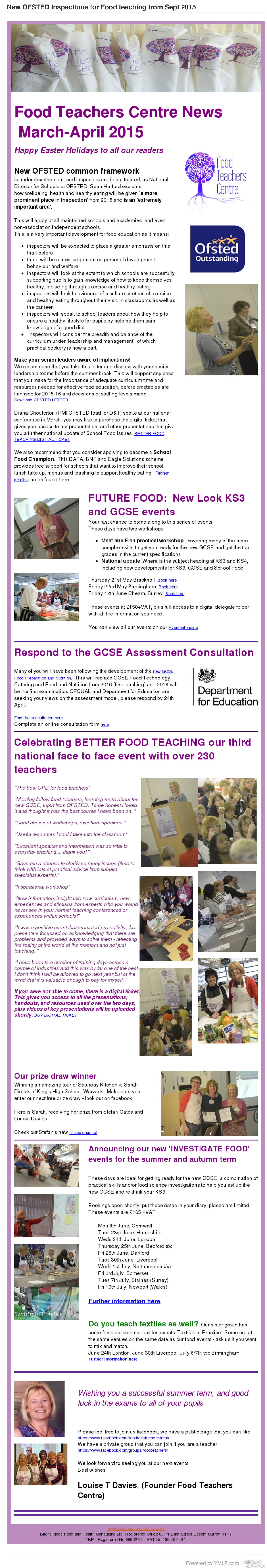 New OFSTED Inspections for Food teaching from Sept 2015